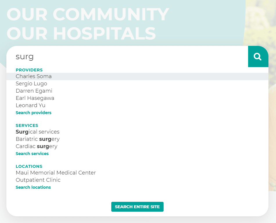 Maui Health search options
