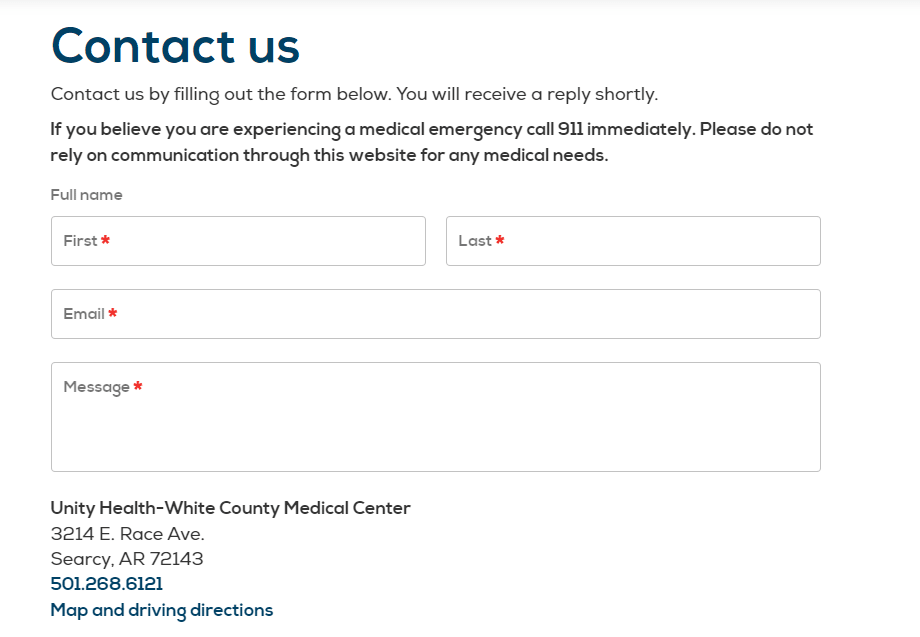 Unity Health Contact us