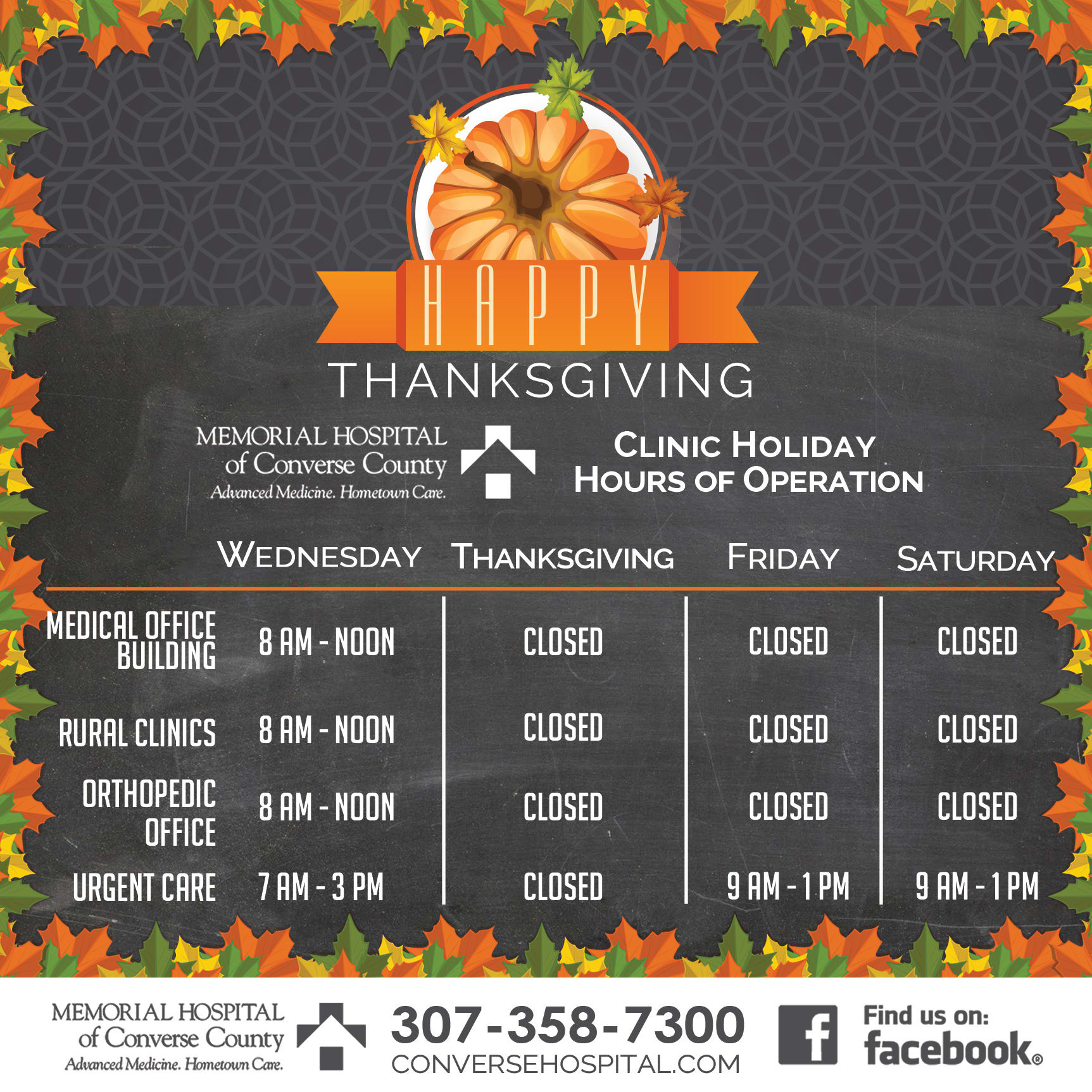 Thanksgiving clinic hours