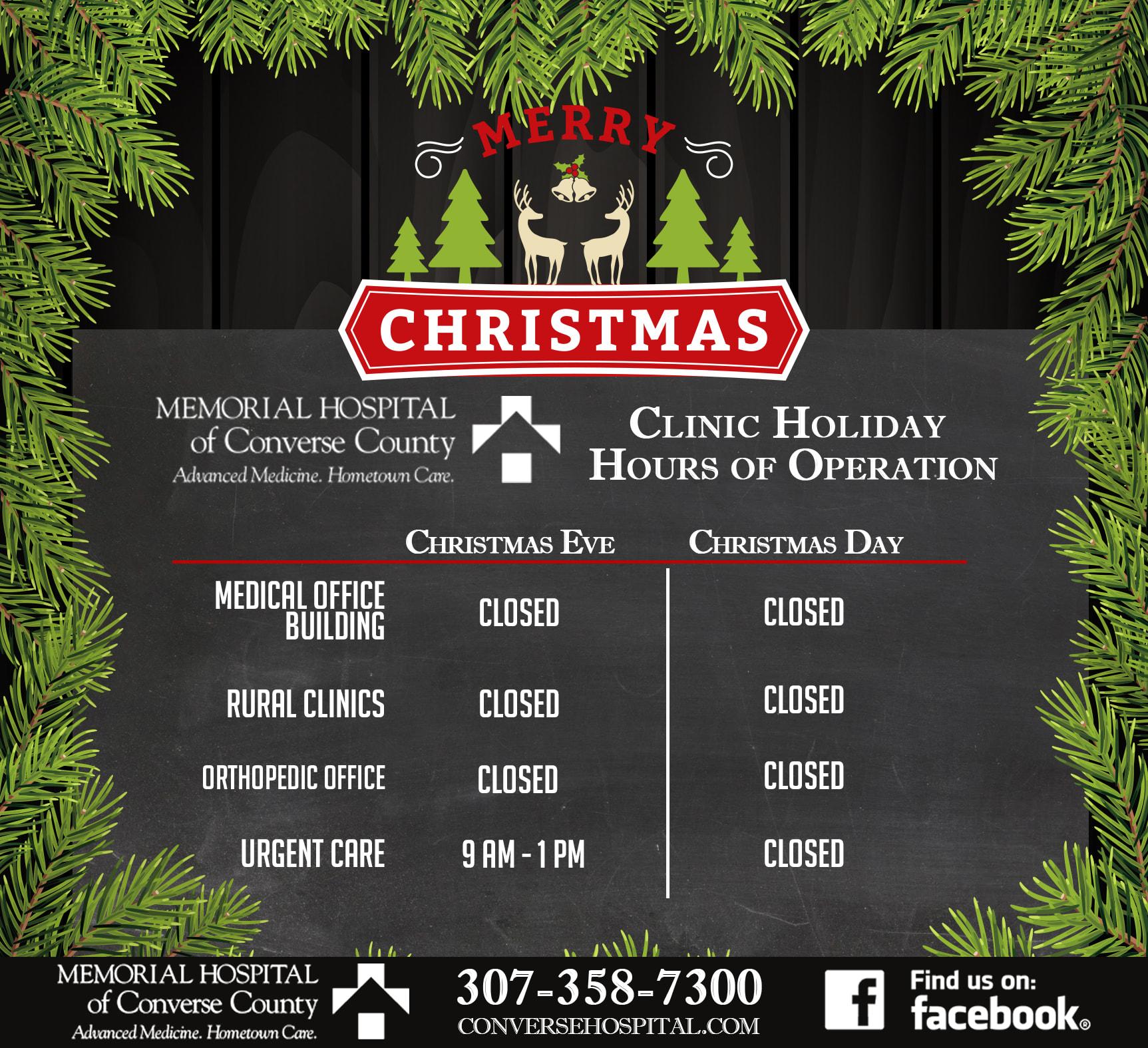 2018 Christmas hours