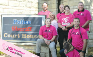 Prairie Du Chien Law Endorcement Strike A Pink Pose In Honor Of Breast Cancer Awareness With Frame No Arrow