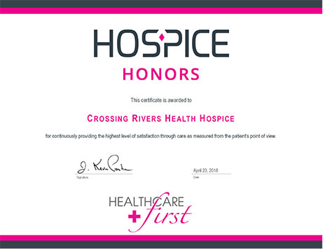 Crossing Rivers Health Hospice receives Hospice Honors Award