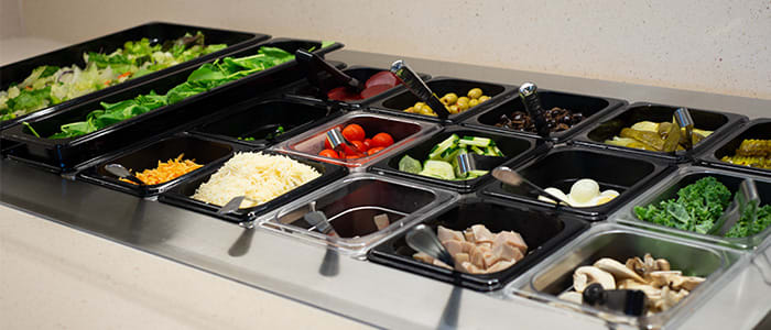 Salad bar at the Crossing Rivers Health Dining Room in Prairie du Chien Wisconsin