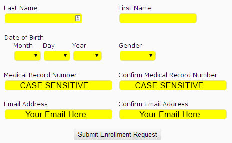 Patient portal enrollment screen shot
