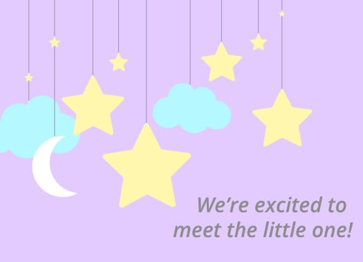 "A mobile of illustrated stars, clouds and a moon with the message ""We're excited to meet the little one!"""