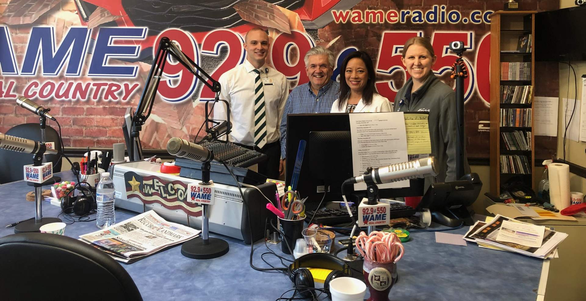 Podcast studio at WAME radio.
