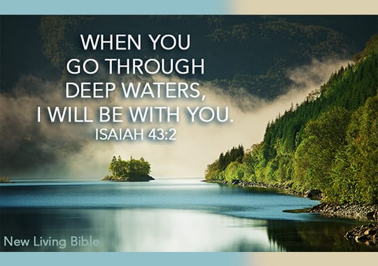 Card with deep waters Scripture