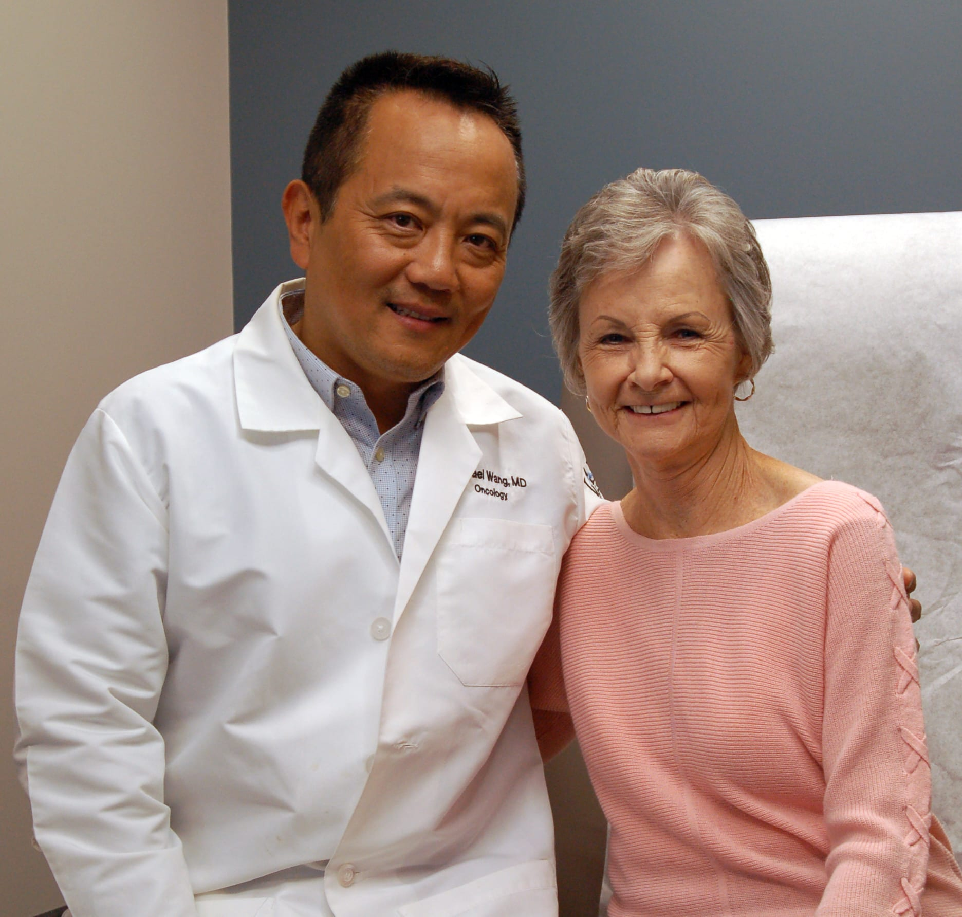 "Lake Regional Oncologist Michael Wang, M.D., and Hodgson. ""They are exceptional,"" she said of Lake Regional's cancer team, ""and I think there are more people in our community who need to learn about our cancer center."""