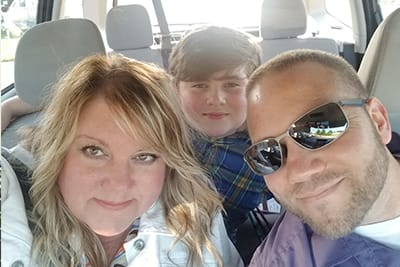 Kellie, Ian and Cohen Heath are thankful for the emergency care Ian received after wrecking his truck in the Feb. 10, 2018, ice storm.