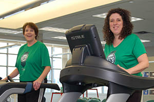 Jane Johnson and Rosete Ward train for I Can 5K in the Lake Regional Cardiopulmonary Rehab gym after work.