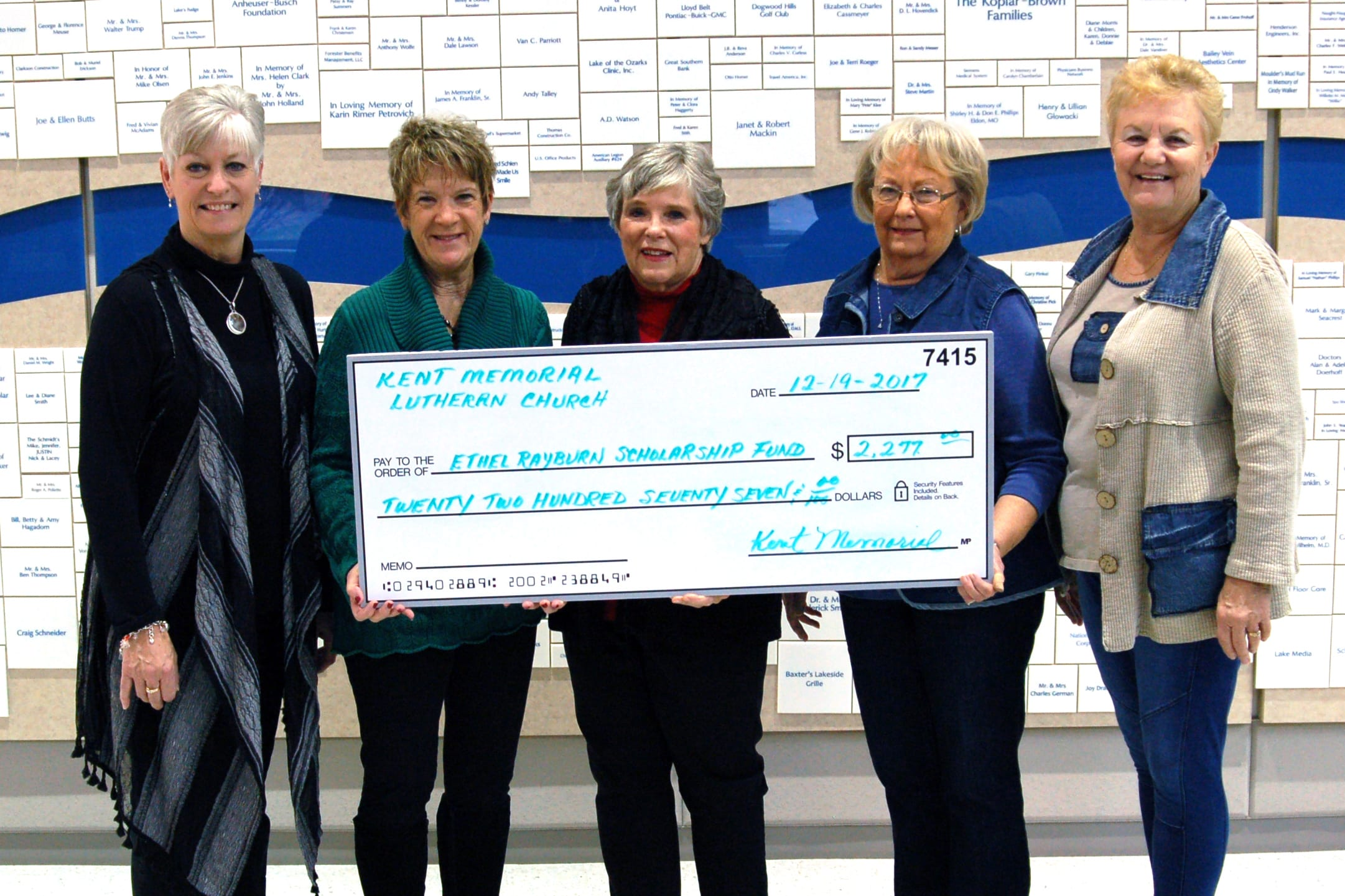 The Women of the Evangelical Lutheran Church in America organization at Kent Memorial Lutheran Church present a $2,277 donation to Lake Regional Hospital Auxiliary. Pictured are Jayne Brown, Auxiliary president; Betty Coleman, Auxiliary past president; and WELCA members Linda Williams, Joyce Wanamaker and Eldeen Hanke.