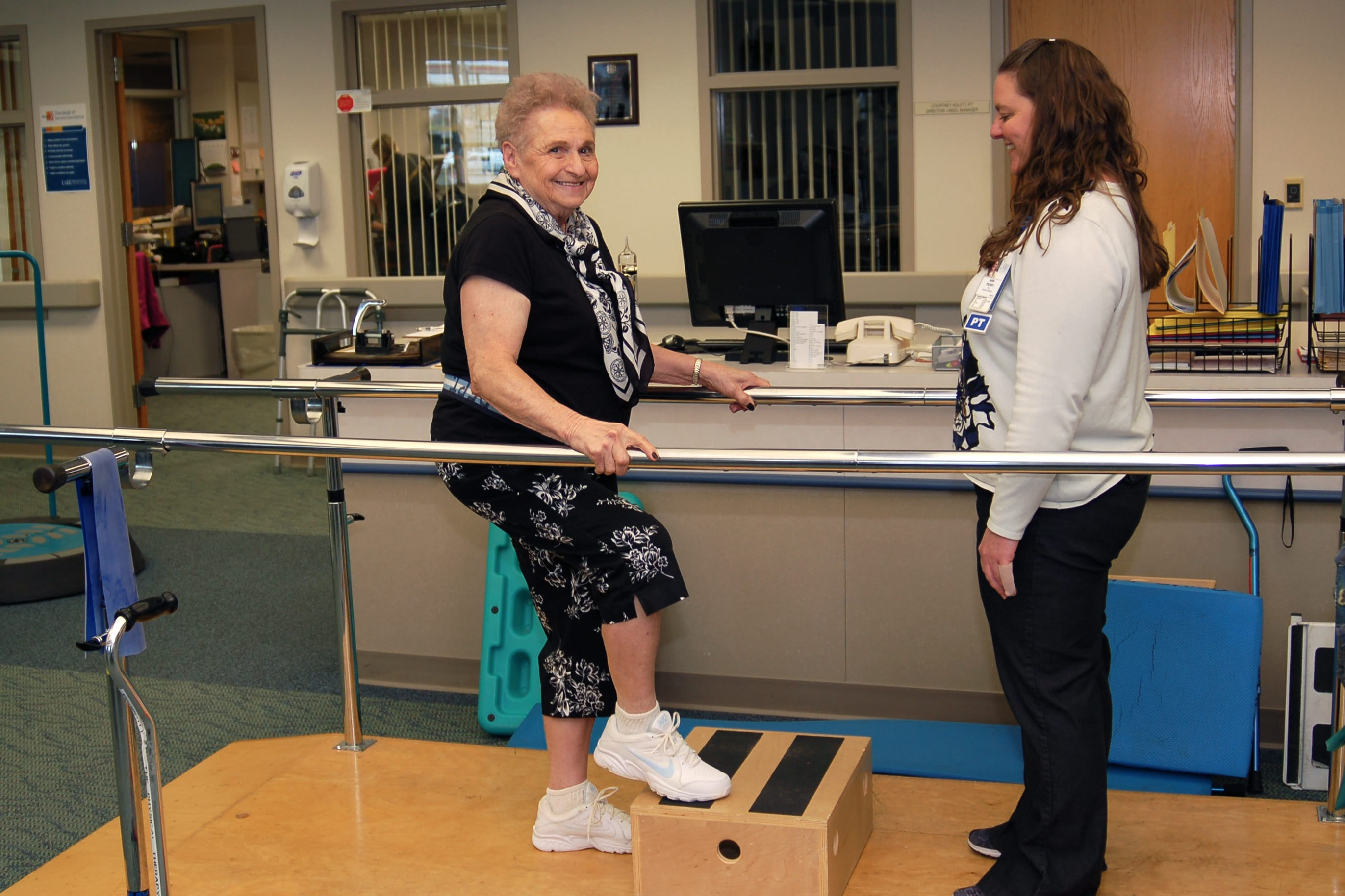 Lois Shipp works with Lake Regional Physical Therapist Assistant Ann Perry to recover strength and control after a debilitating stroke.
