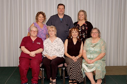 Recipients of the Lake Regional Service Recognition Award for 25 years of continuous service were (back row) Kelli Waters, Nathan Evans, Jennifer Schmidt, (front row) Lana Upton, Mary Ellen Coy, Cecilia Pobst and Sheila Plemmons. Not pictured is Angela Halterman.
