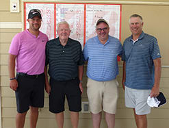 Jason White, Peter Brown, Mark Brown and Mark Hittner won first place, A-flight, in the afternoon round of the 41st Annual HK's Hospital Benefit Golf Tournament.