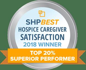 SHP best hospice caregiver satisfaction 2018 winner top 20% superior performer