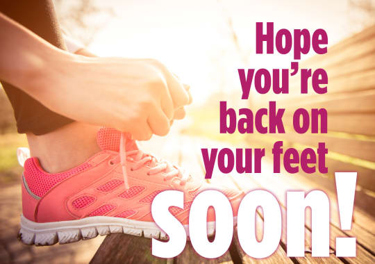 "A runner ties her shoe with the message ""Hope you're back on your feet soon!"""