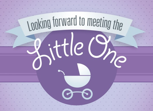 """Looking forward to meeting the little one"" over an illustrated buggy"