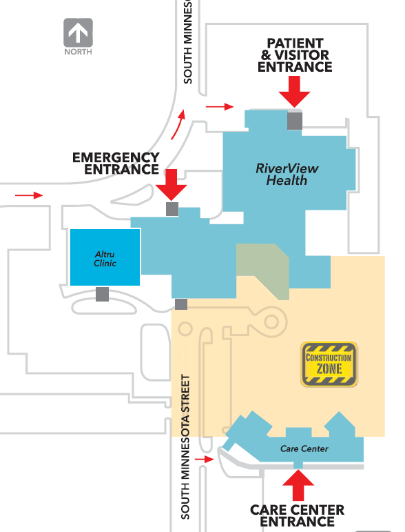 This map depicts patient entrances to be used during the construction phase of RiverView 2020.