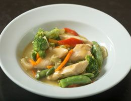 Thai-style chicken curry in a bowl