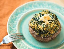 Herbed spinach quiche portabella caps