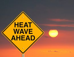 """A road sign in front of a sunset. Sign reads: """"Heat wave ahead."""""""