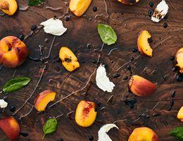 Peach, basil, fresh mozzarella, drizzled with olive oil and vinegar.