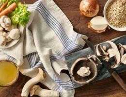 Mushroom on cutting board.