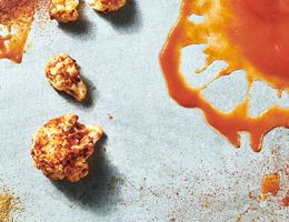 Cauliflower coated with spices