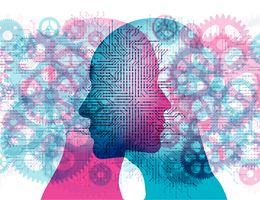 Silhouettes of two heads surrounded by gears. Illustration.