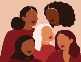 Silhouettes of five women. Illustration.