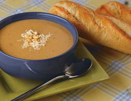 Bowl of cauliflower and roasted garlic soup.