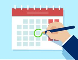 A hand with a pencil circles a date on a calendar. Illustration.