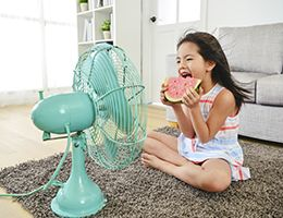A girl sits in front of a fan eating a slice of watermelon.