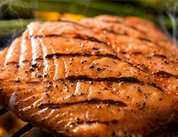 A seared salmon fillet.
