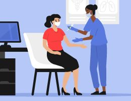 A healthcare provider gives a woman a shot in a doctor's office. Illustration.