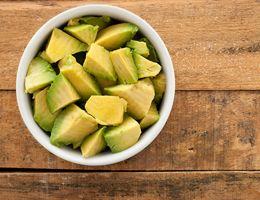 Bowl of diced avocado.