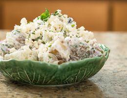 Bowl of Greek potato salad