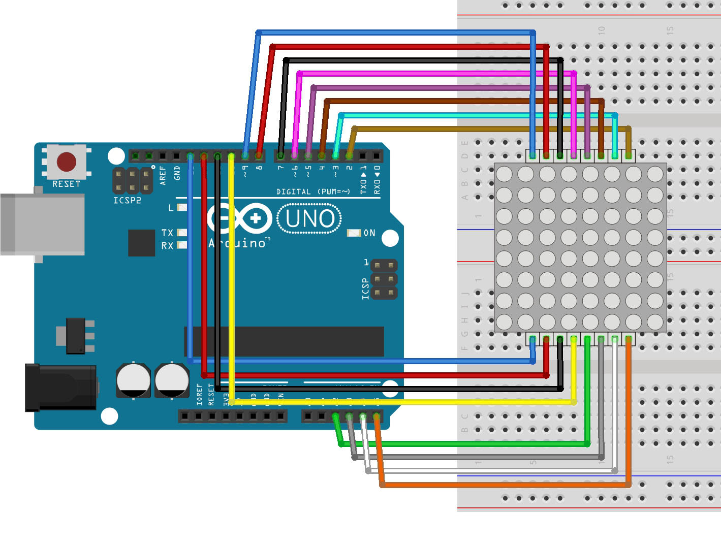 用ArduinoUNO控制8×8点阵LED显示跳跃的心
