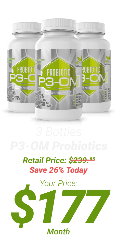 3 bottles P3-OM Probiotics at $177