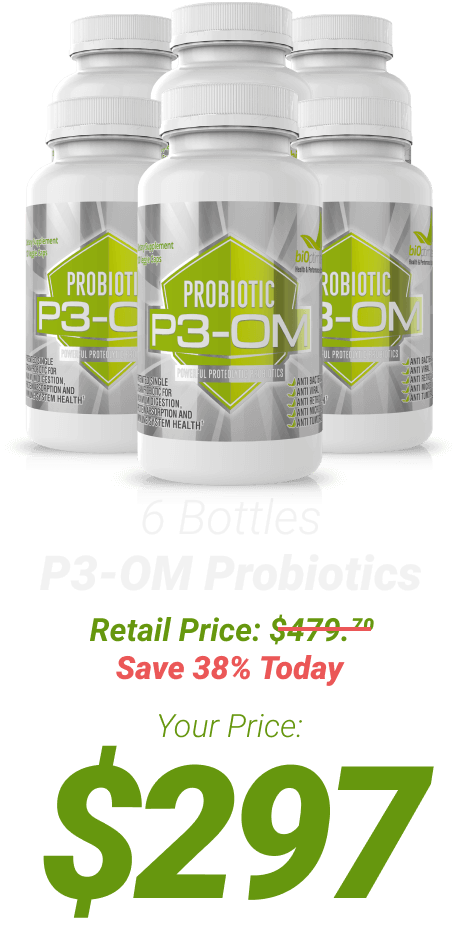 6 bottles P3-OM Probiotics at $297