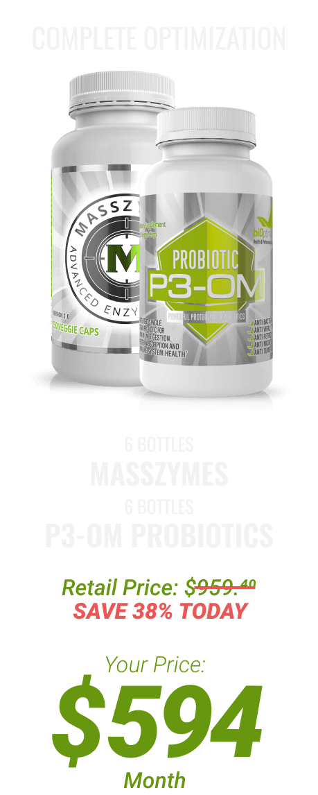 6 btls MassZymes + 6 btls P3-OM Probiotics at $594