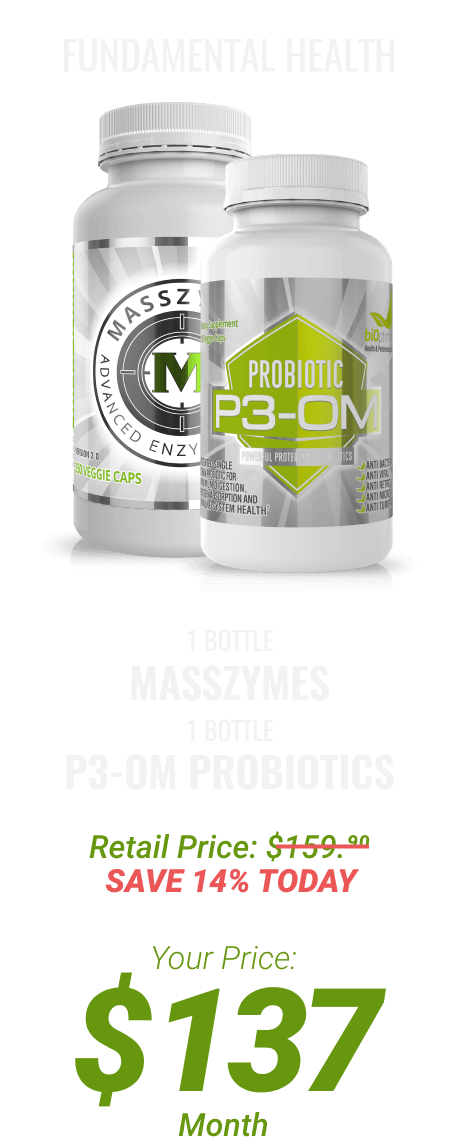 1 btl MassZymes + 1 btl P3-OM Probiotics at $137