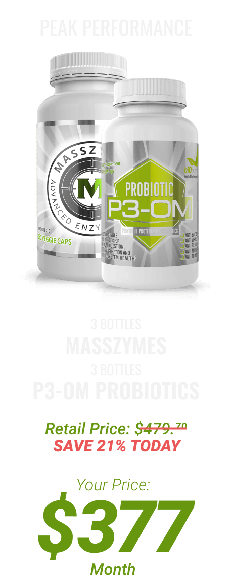 3 btls MassZymes + 3 btls P3-OM Probiotics at $377