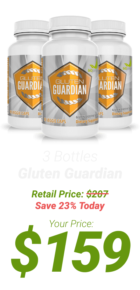 3 bottles of Gluten Guardian at $159 - One Time Supply