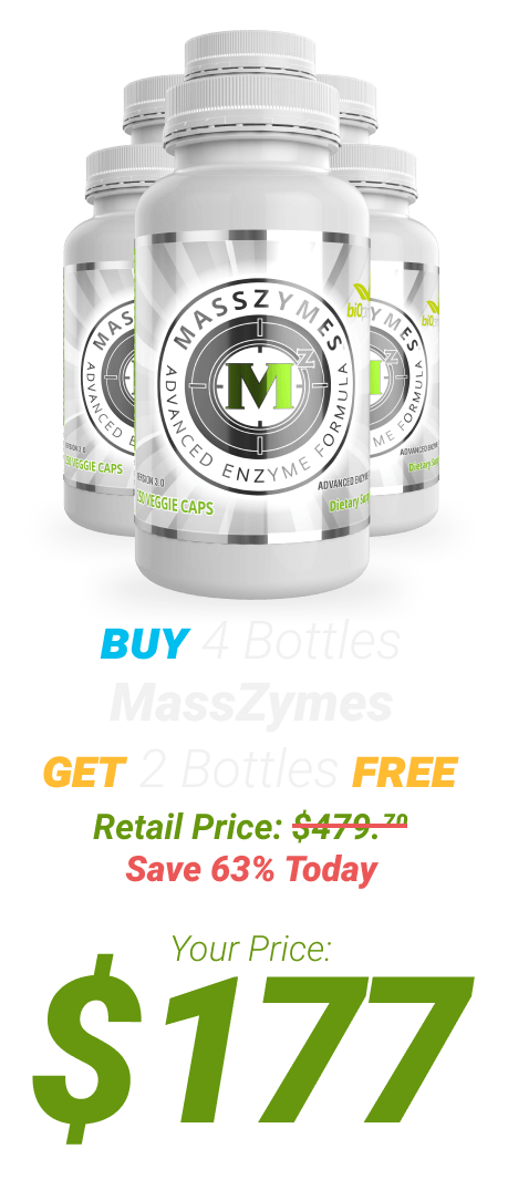 6 bottles of MassZymes at $177 - One Time Supply