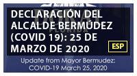 Declaración del alcalde Bermúdez (COVID 19): 25 de marzo de 2020