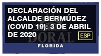 Declaración del alcalde Bermúdez (COVID 19): 3 de abril de 2020