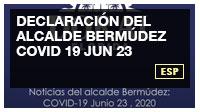 Declaración del alcalde Bermúdez COVID 19 JUN 23