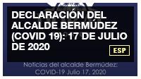 Declaración del alcalde Bermúdez (COVID 19): 17 de julio de 2020