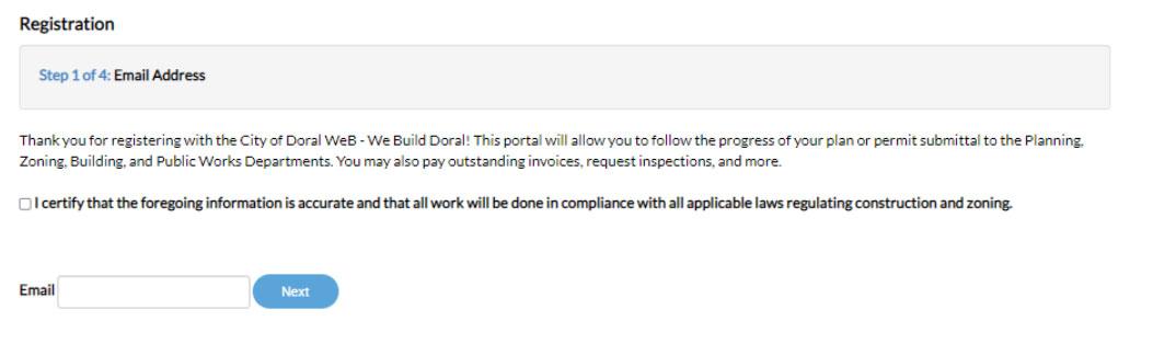 Step 1 - Email Address